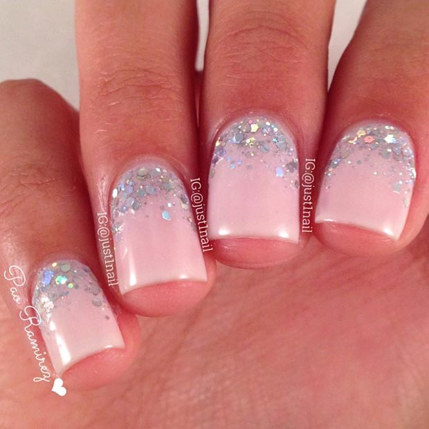 Light Pink and Silver Glitter Nail Design