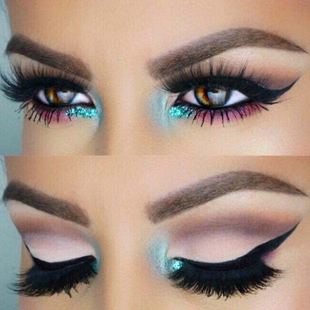 Turquoise Inner Corner Eye Makeup Look