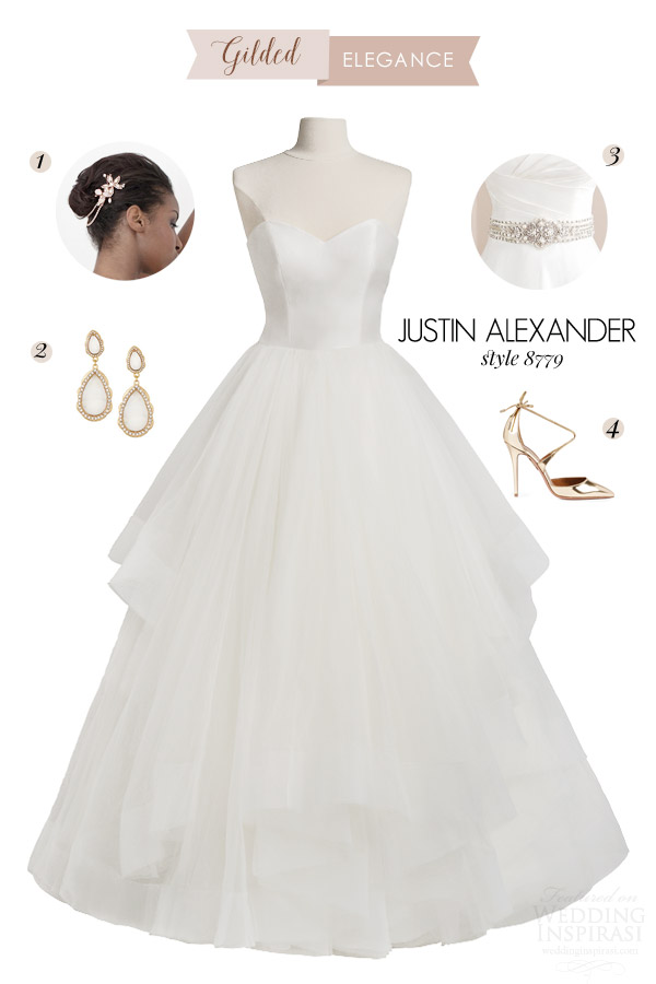 justin alexander style 8779 strapless ball gown wedding dress bridal style inspiration gilded elegance rose gold headpiece earrings metallic pump shoes pearl belt