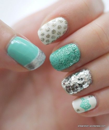 Pretty Mint and Silver Nail Design