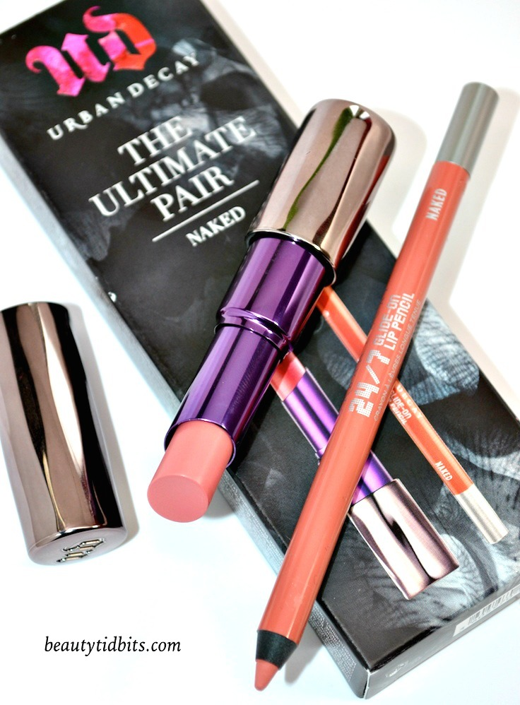 Looking for the perfect nude pink lip color? Urban Decay has your lips covered with The Ultimate Pair Naked set with a full-size 24/7 Glide-On Lip Pencil and a full-size Revolution Lipstick in Naked. This power couple gives you richly pigmented, creamy color that goes gorgeously nude!