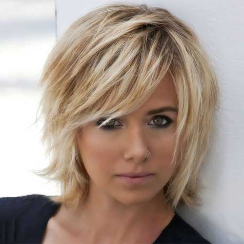 Best Blonde Chopped Bob with Side Bangs