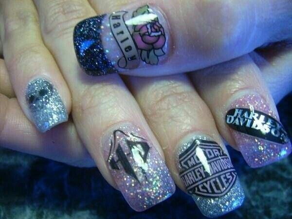 Sparkly Harley Davidson Nail Design for Clear Nails