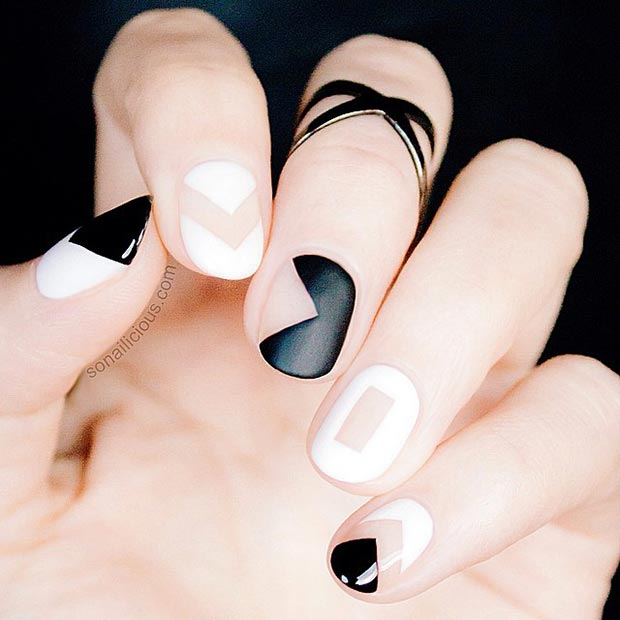 Black and White Matte Nail Design