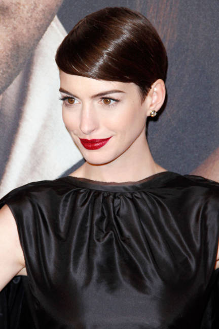 Anne Hathaway Sleek and Shiny Pixie Cut Hairstyle