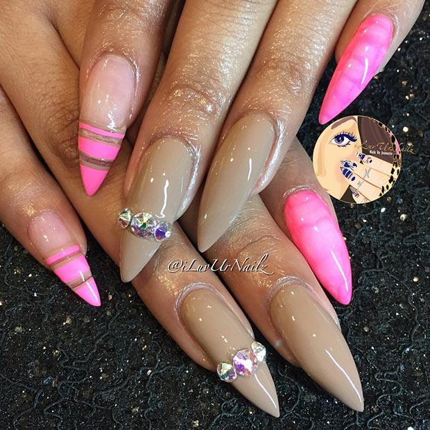Nude Neon Pink Stiletto Nails