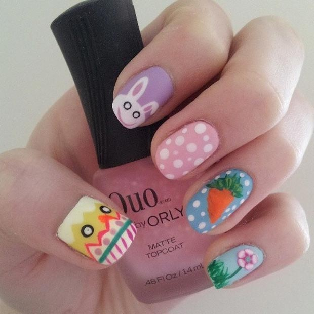 Easter Matte Nail Art Design