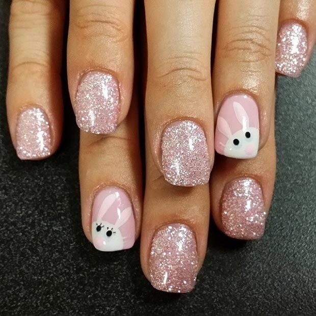 Pink Sparkly Easter Nail Design