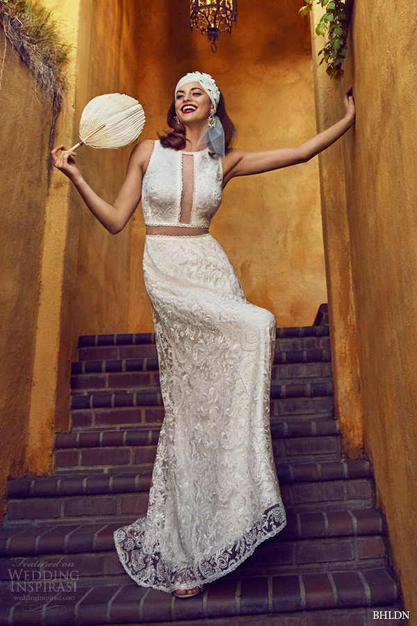 bhldn spring 2 2015 wedding dresses jewel neckline sleeveless tadashi shoji cutout waist ivory a line bridal gown stella villa sophia california photo shoot