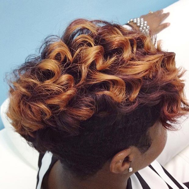 Red & Gold Curly Short Hairstyle
