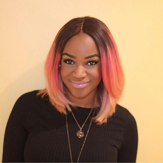 Straight Pink Bob Hairstyle