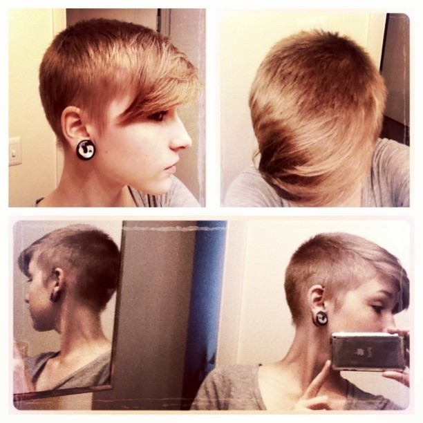 Short Shaved Pixie Haircut with Long Bangs
