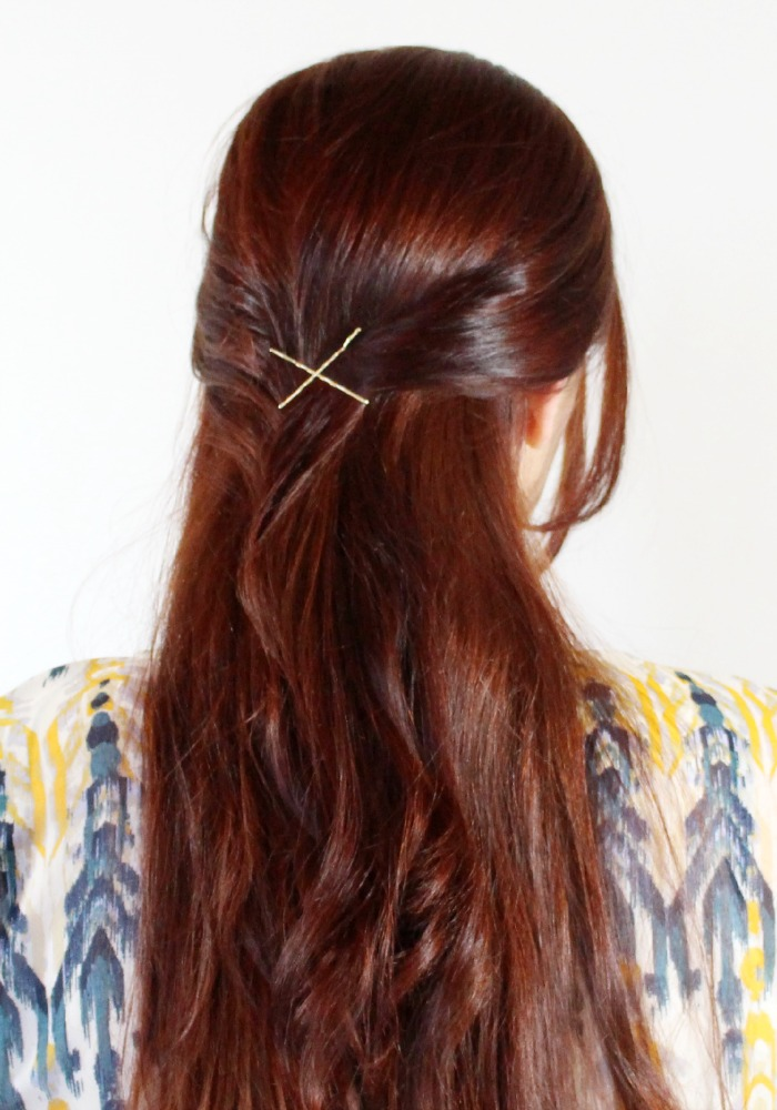 Simple half up with Bobby Pins