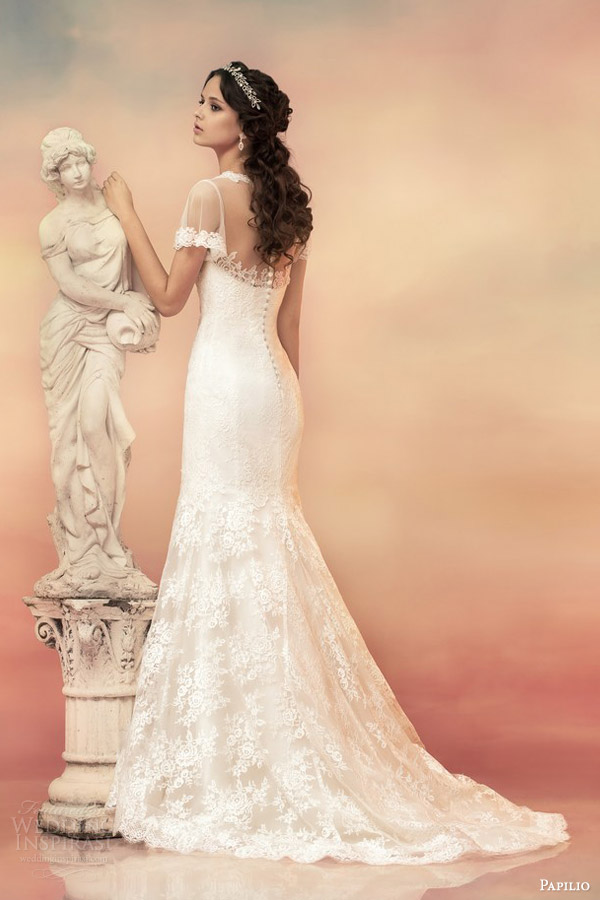 papilio bridal 2015 illusion flutter sleeve wedding dress 1530 back view lace train