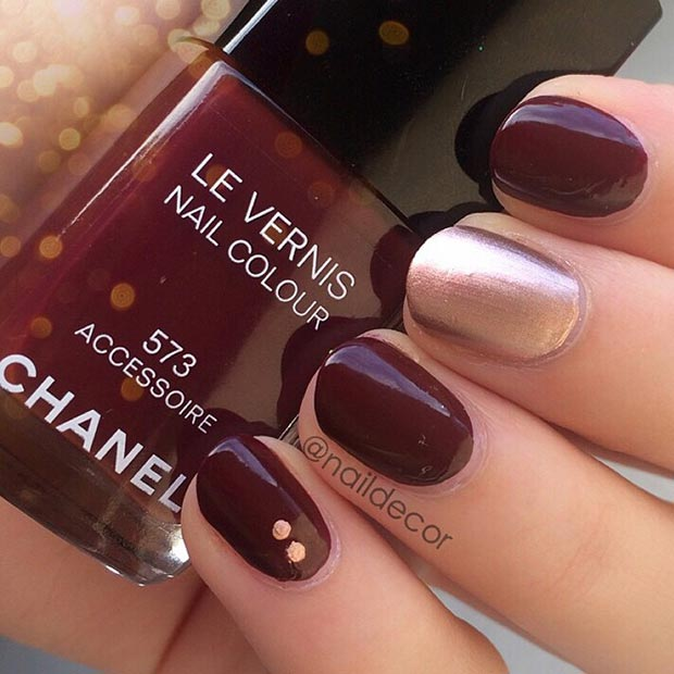 Simple Red Wine and Gold Nail Design