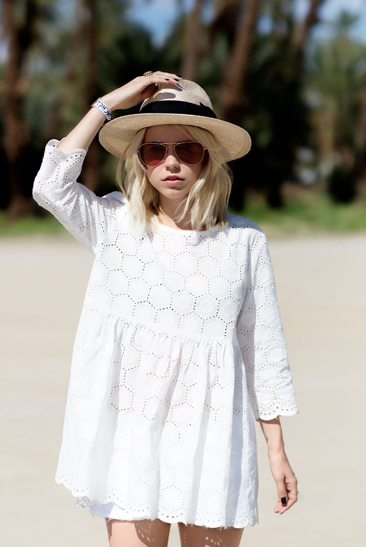 beach wedding white lace and hat outfit What to Wear as Guest to A Spring Wedding