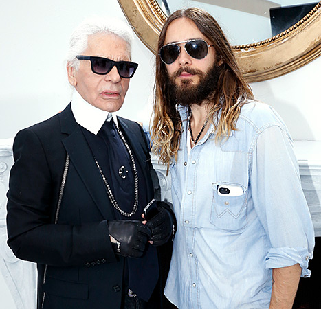 Karl Lagerfeld and Jared Leto pose backstage after the Chanel show as part of Paris Fashion Week - Haute Couture Fall/Winter 2014-2015 on July 8, 2014 in Paris, France.