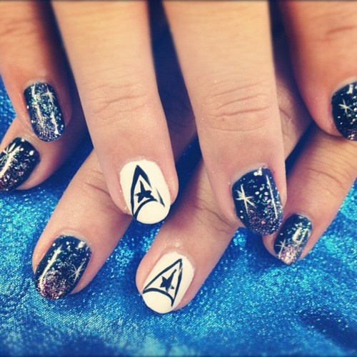 Glittering Star Trek Nail Design