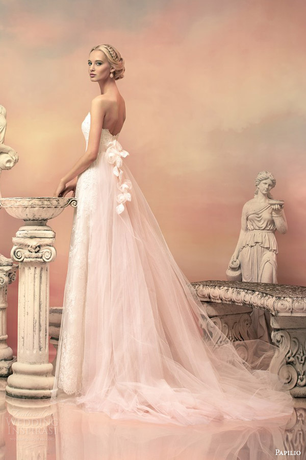 papilio bridal 2015 elissa pale pink lace wedding dress detachable tulle train back view