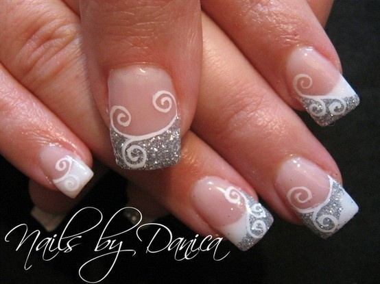 Silver Nail Design for French Manicure