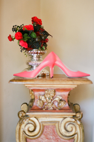 Pink Jimmy Choo pumps | Rochelle Cheever Photography | see more on: http://burnettsboards.com/2015/03/floral-inspired-roman-villa-wedding/