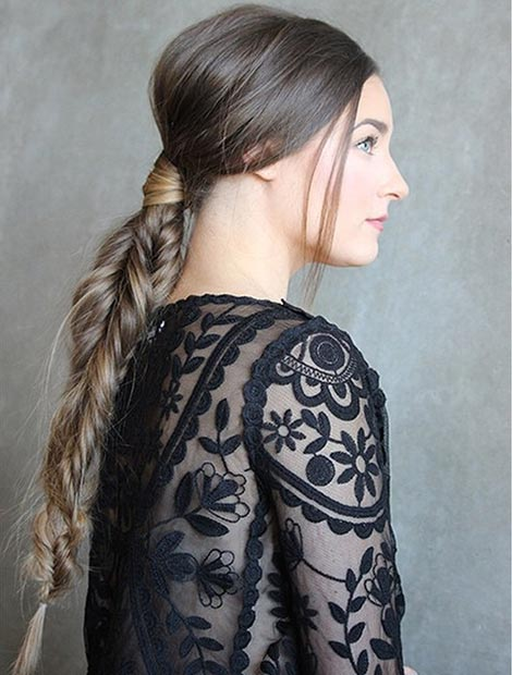 Messy Low Fishtail Ponytail