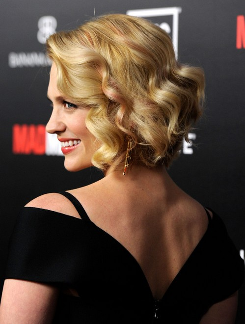 January Jones Curly Bob Hairstyle Side View