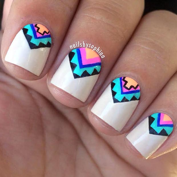 Colorful Aztec Nail Design for Short Nails