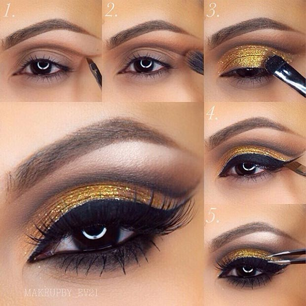Pictorial for Gold Eye Makeup Look