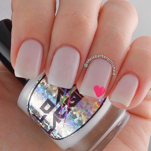 Neon Heart Accent Nail