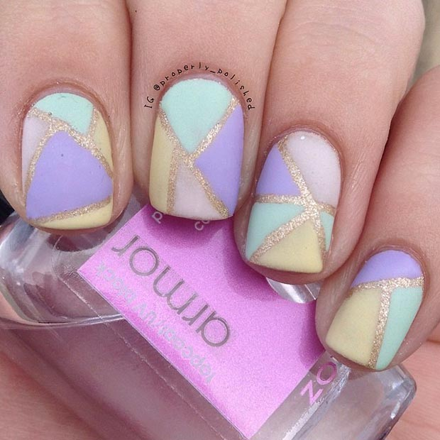Gold and Pastel Nail Design