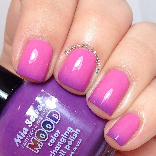 Pink and Purple Nail Design