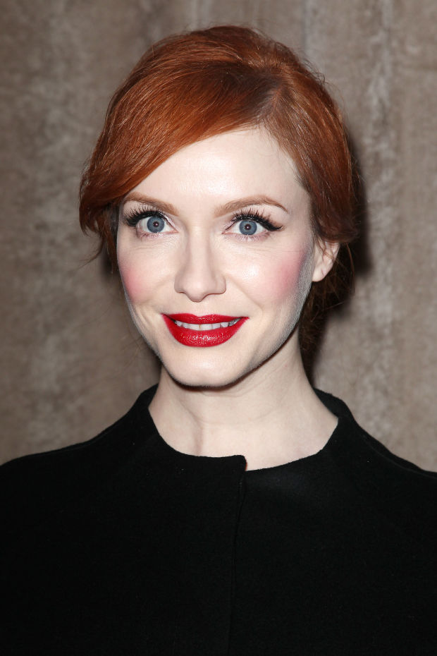 Christina Hendricks at the fall 2015 Zac Posen show.