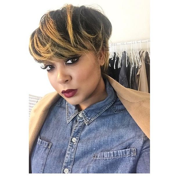 Short Black Hairstyle with Honey Highlights