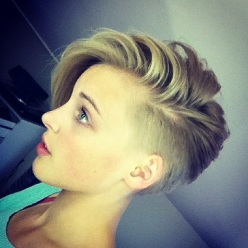 Short Shaved Hairstyle with Side Bangs