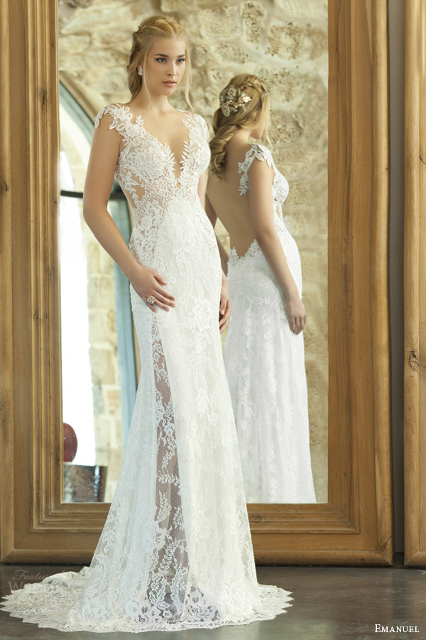 emanuel haute couture bridal 2015 sexy sheath wedding dress lace bodice illusion open back