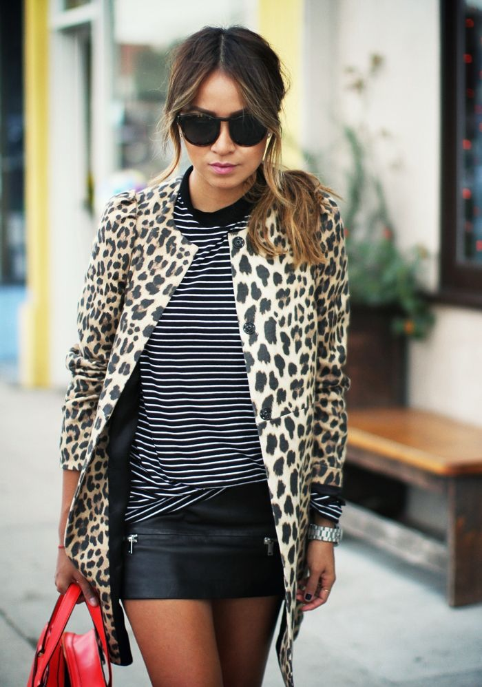 animal print and stripes Mix Print Combos to Wear this Spring