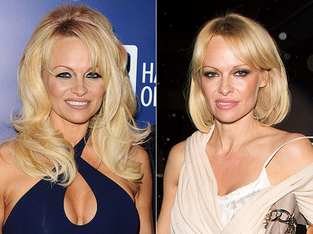 Pamela Anderson before (left) and with her new bob haircut (right).