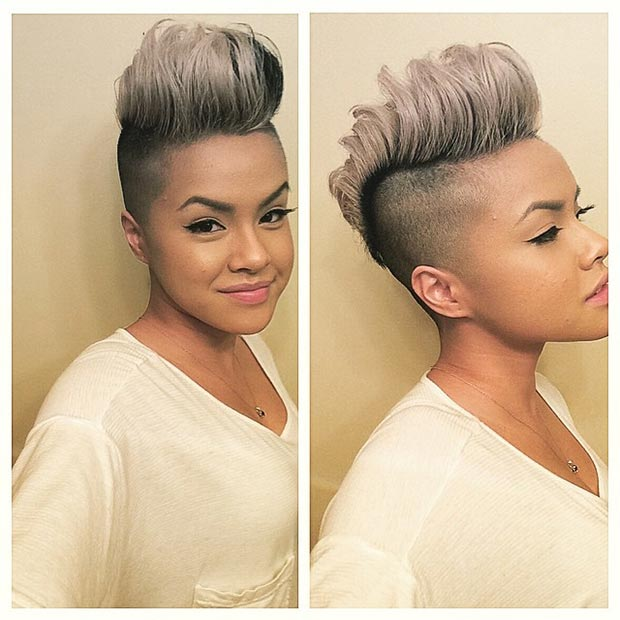 Grey Mohawk Hairstyle for Black Women
