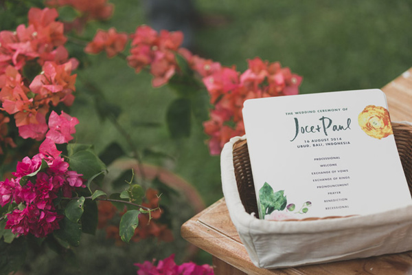 wedding paper goods - photo by Jonas Peterson http://ruffledblog.com/exotic-garden-party-wedding-in-bali