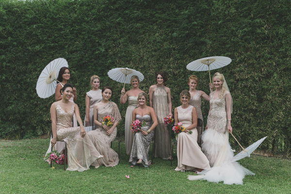 metallic bridal party - photo by Jonas Peterson http://ruffledblog.com/exotic-garden-party-wedding-in-bali