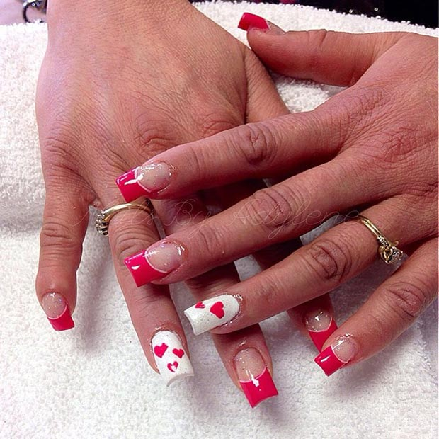 Red and White Valentine's Day Nails