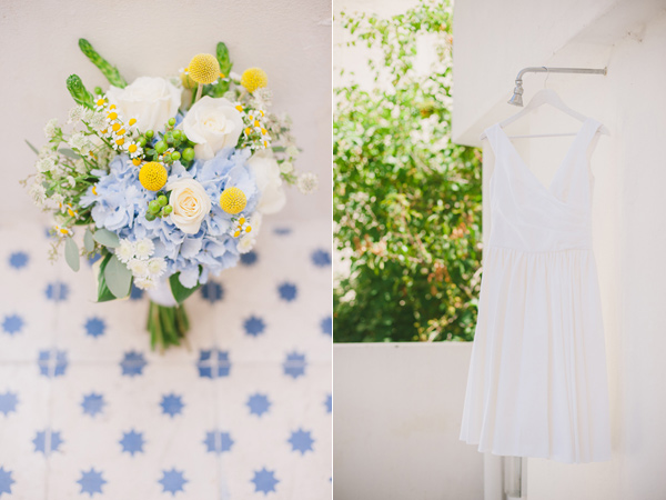 blue and yellow bouquet - photo by Piteira Photography http://ruffledblog.com/whimsical-destination-wedding-in-lisbon