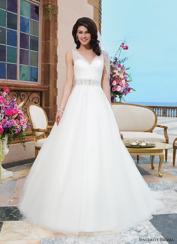 sincerity bridal style 3843 sleeveless ball gown wedding dress front full view