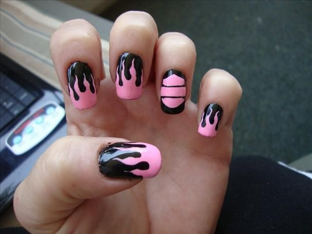 Pink and Black Harley Davidson Nail Design