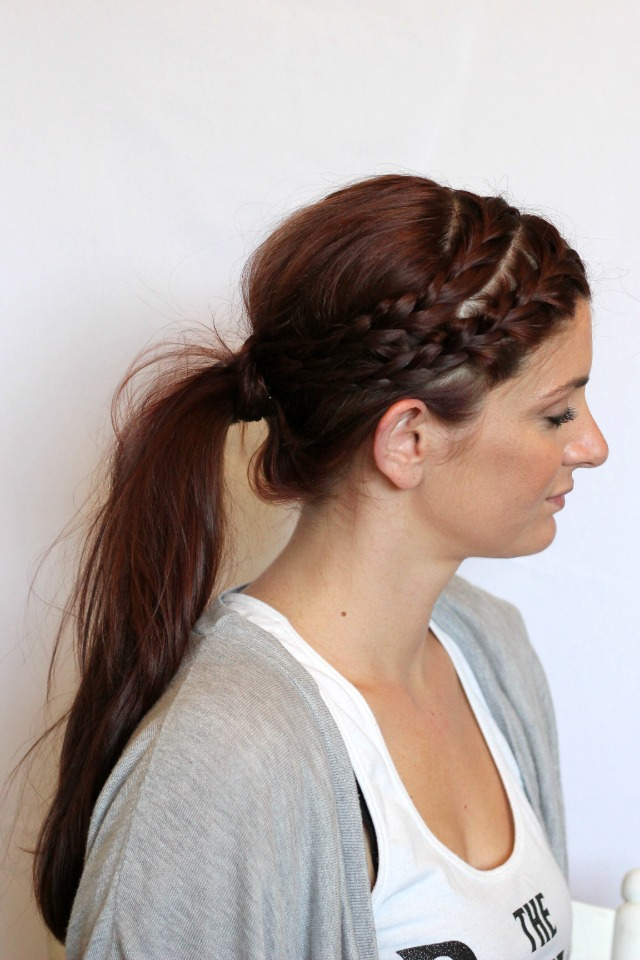 double braid into ponytail