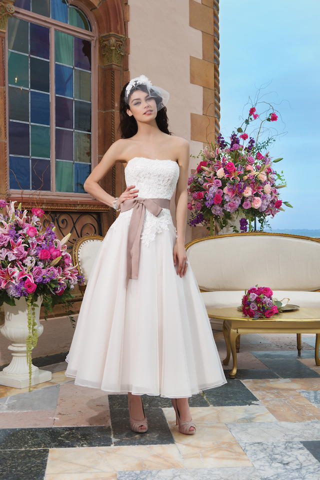 Tea length wedding dress with lace details from Sincerity