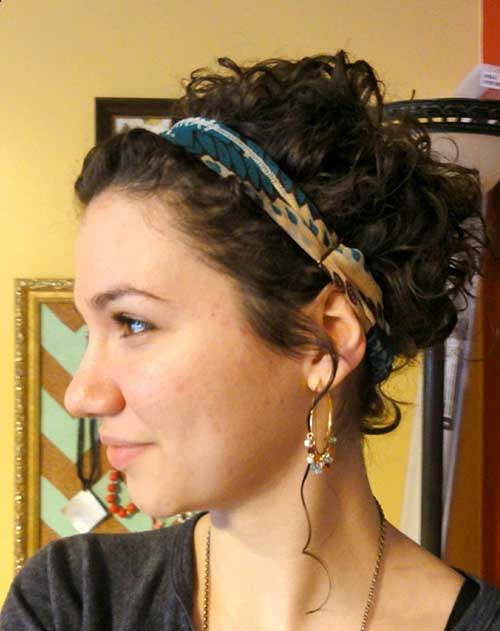 Curly Hairstyle Updo with Headband