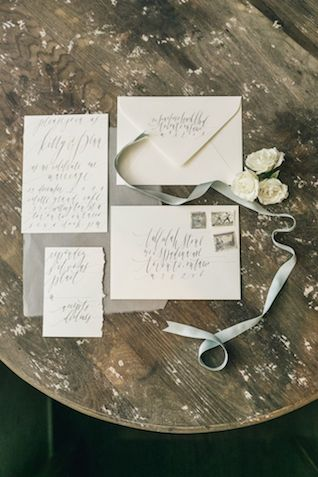 Calligraphy wedding invitations | The Love Studio | see more on: http://burnettsboards.com/2015/03/vintage-dior-wedding-editorial/