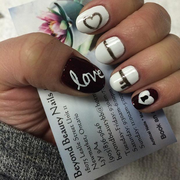 Heart Key Nail Design